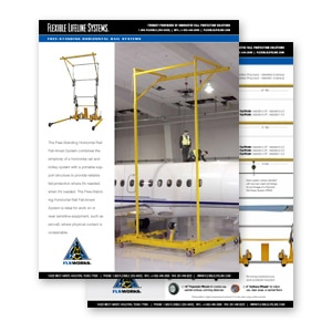 freestanding horizontal rail for aircrafts
