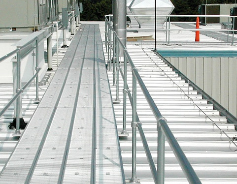 handrail and walkway system for rooftops