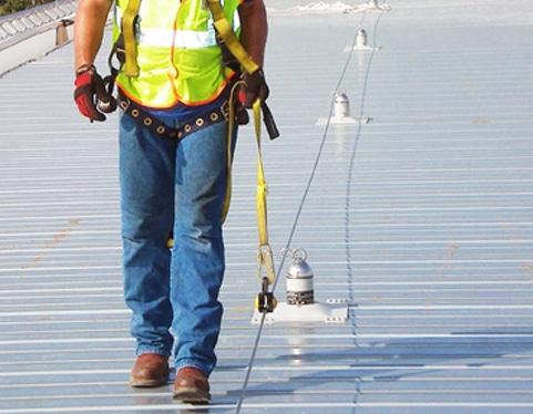Roof Fall Protection Systems, Rooftop Fall Arrest - Flexible Lifeline Systems