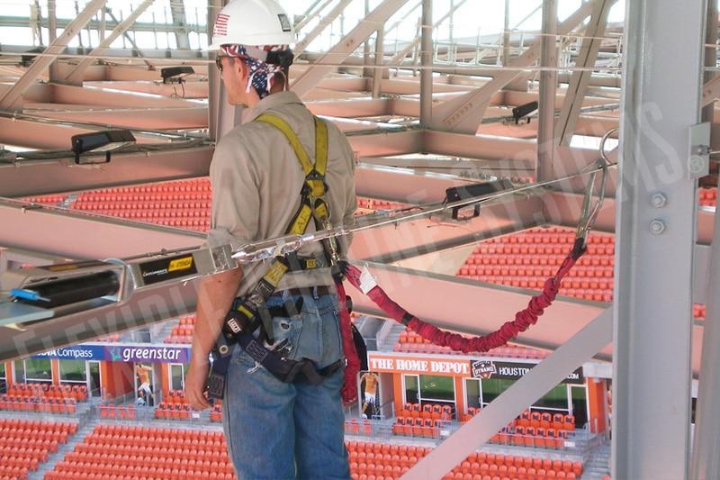 stadium and arena fall protection lifeline
