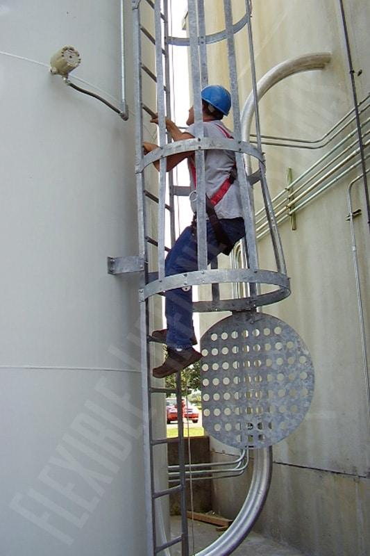 steel ladder with lifeline cable on tower