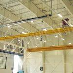 rigid rail in an aircraft hangar