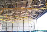 skewed bridge in a widebody hangar