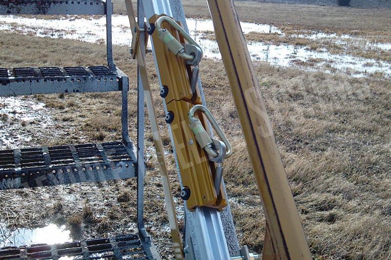 sliding locking trolley system on tank stairs