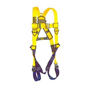 vest-style harness with quick connect buckle leg straps