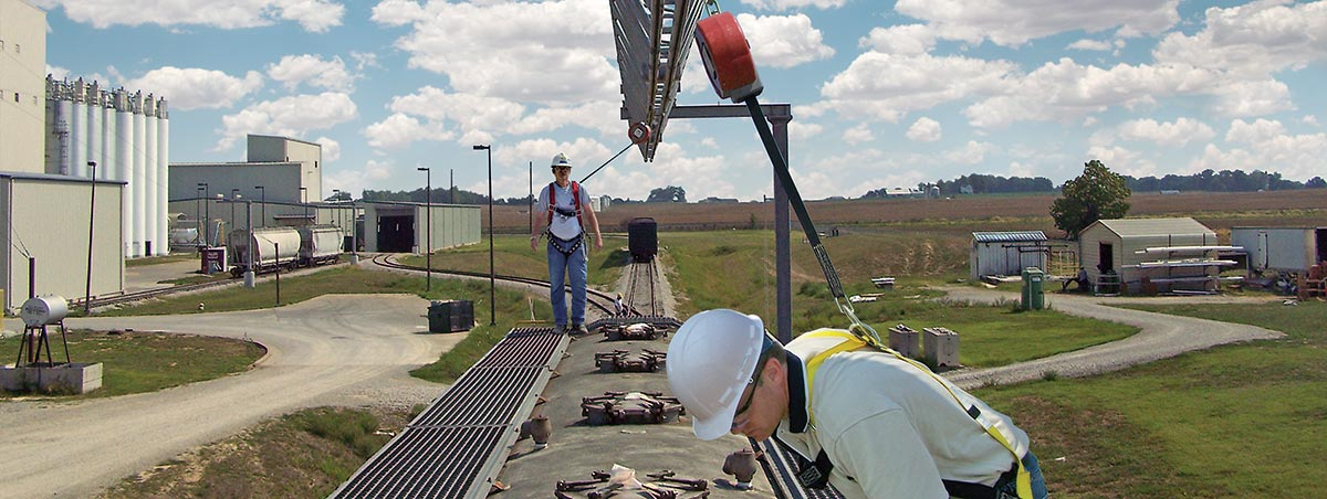 Trolley Beam Fall Protection Systems For Rail Cars