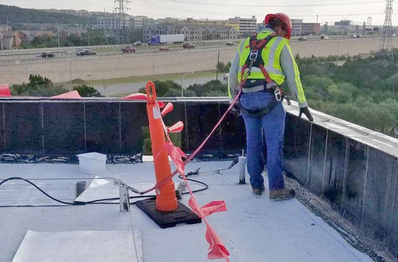 rooftop safety lifeline in use